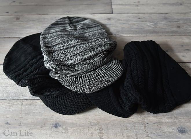 抗がん剤治療中のお出かけ帽子、冬用帽子/たっぷり大きいつば付きキャスケット帽子(男女兼用)(3色)