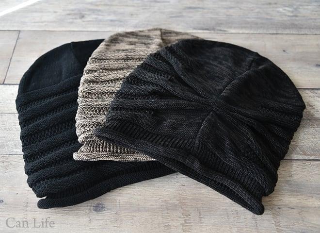 抗がん剤治療中のお出かけ帽子、冬用帽子/たっぷり大きいニット帽子(男女兼用)(3色)