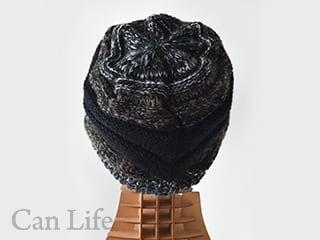 暖かいつば付きニット帽子 グラデーション