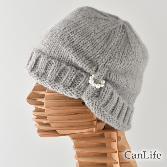 冬用帽子 飾りパール付き・ニット帽子