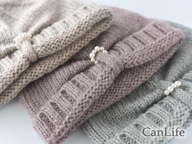 冬衣料の定番、ふんわり軽くて温かいアクリルのニット帽子