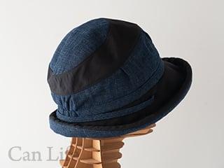 抗がん剤治療中のお出かけ帽子、夏用帽子 UVケア/楽々うしろゴム・落下防止クリップ付き帽子(ネイビー)