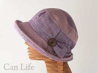 抗がん剤治療中のお出かけ帽子、夏用帽子 UVケア/楽々うしろゴム・落下防止クリップ付き帽子(パープル)