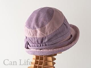 抗がん剤治療中のお出かけ帽子、夏用帽子 UVケア/楽々うしろゴム・落下防止クリップ付き帽子