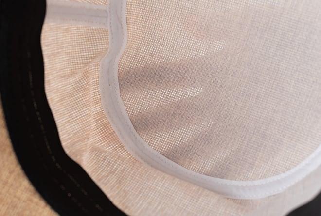 抗がん剤治療中のお出かけ帽子、夏用帽子 UVケア/シンプルライン・クロッシェ帽子の縫製部分