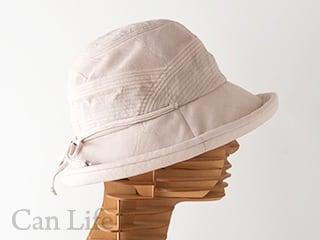 抗がん剤治療中のお出かけ帽子、夏用帽子 UVケア/シンプルリボンがかわいいブルトンハット帽子(ライトベージュ)