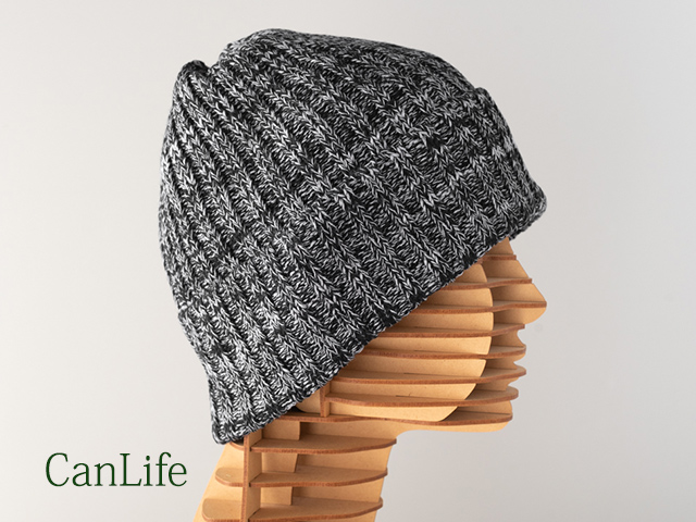抗がん剤頭皮ケア帽子/綿100%ニット帽子:ミックス・ブラック