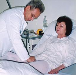 ドイルの病院での医療用弾性ストッキング利用例