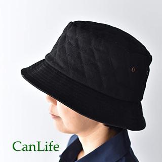 冬用帽子抗がん剤治療中のお出かけ帽子/キルティングハット ブラック