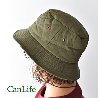 冬用帽子抗がん剤治療中のお出かけ帽子/キルティングハット カーキ
