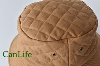 冬用帽子抗がん剤治療中のお出かけ帽子/キルティングハット キルティング生地アップ