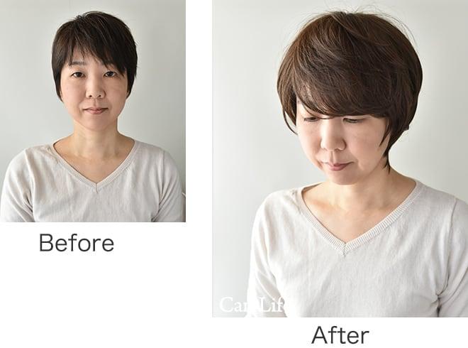 キャンライフすっぽりウイッグ before&after